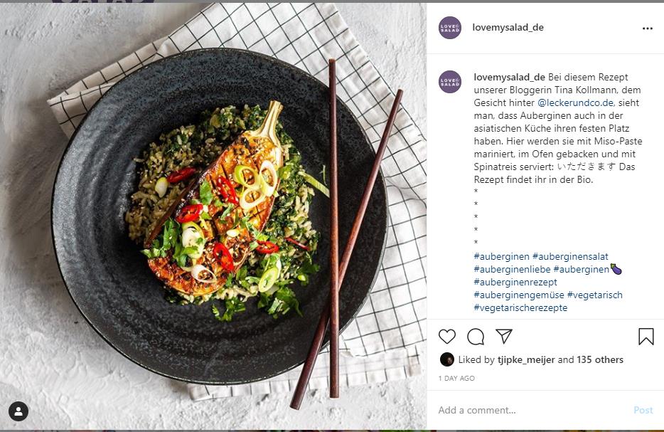 Instagram Love my Salad Aubergine