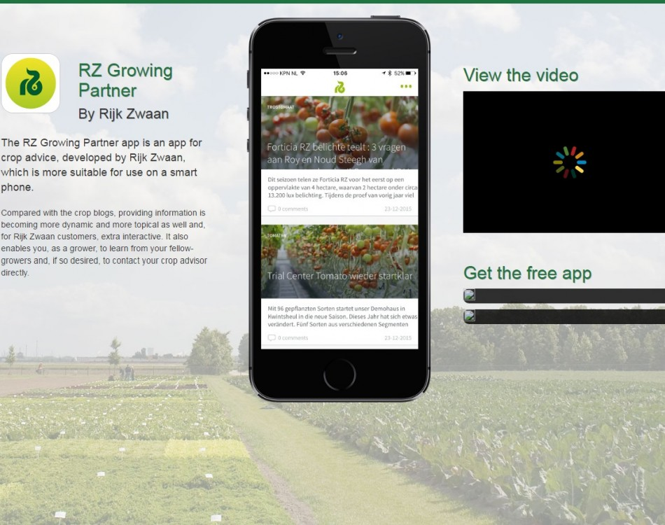 A preview of the Rijk Zwaan Growing Partner app